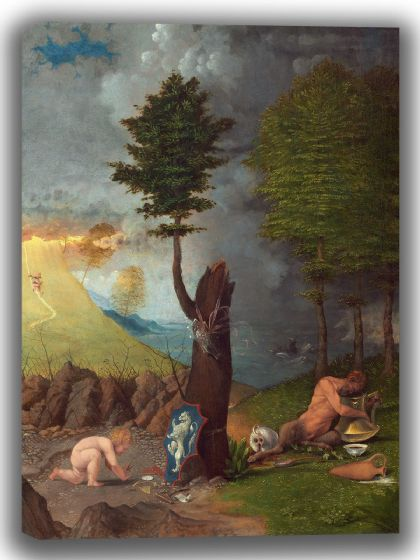 Lotto, Lorenzo: Allegory of Virtue and Vice. Fine Art Canvas. Sizes: A4/A3/A2/A1 (004107)